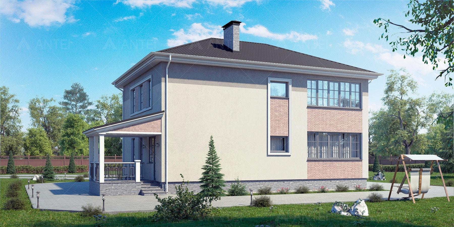 Проект двухэтажного дома с гаражом, террасой «КД-32» - фото №2