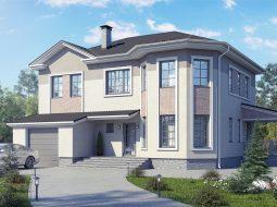 Проект двухэтажного дома с гаражом, террасой «КД-32»