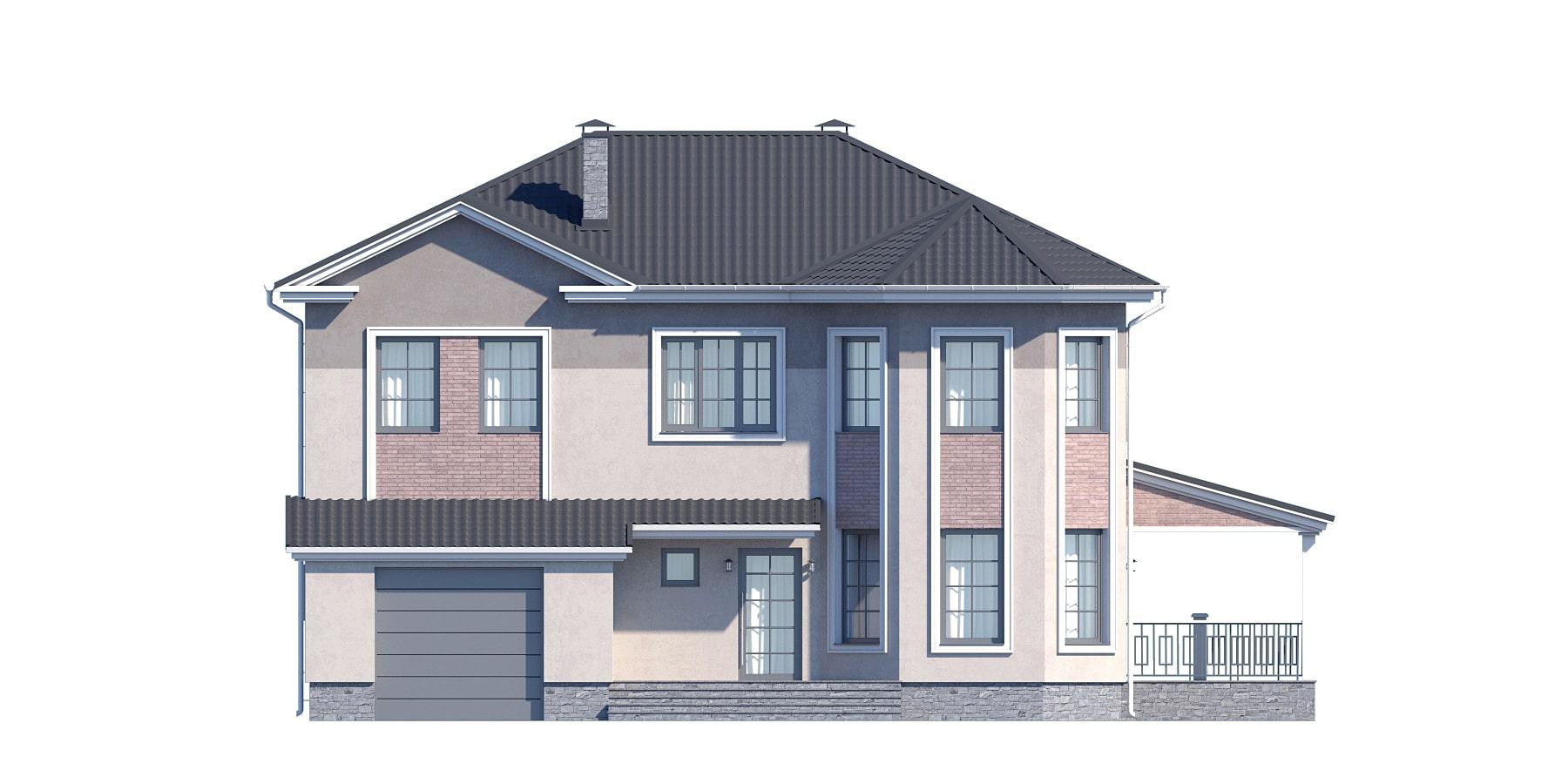Фасад двухэтажного дома с гаражом, террасой «КД-32» - спереди