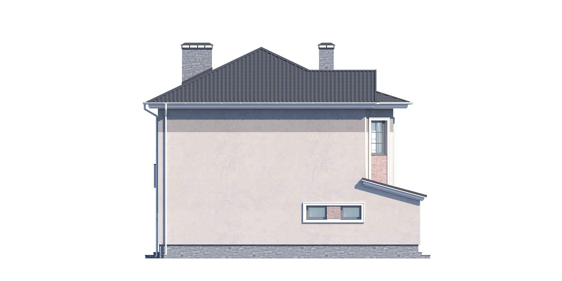 Фасад двухэтажного дома с гаражом, террасой «КД-32» - слева