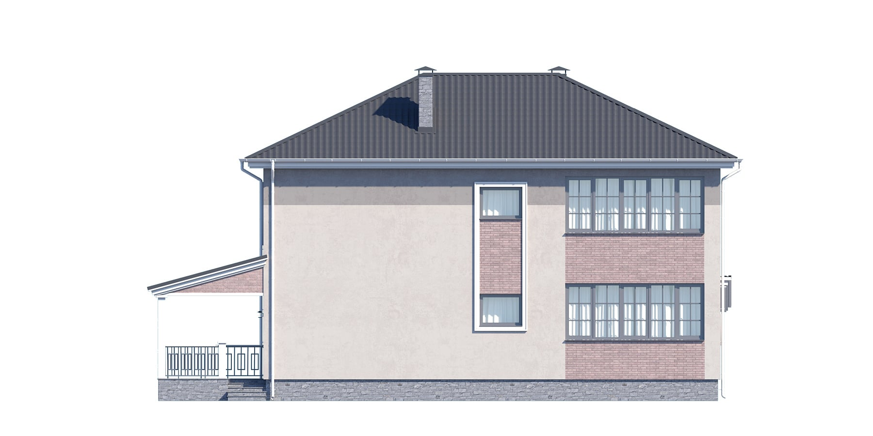 Фасад двухэтажного дома с гаражом, террасой «КД-32» - сзади
