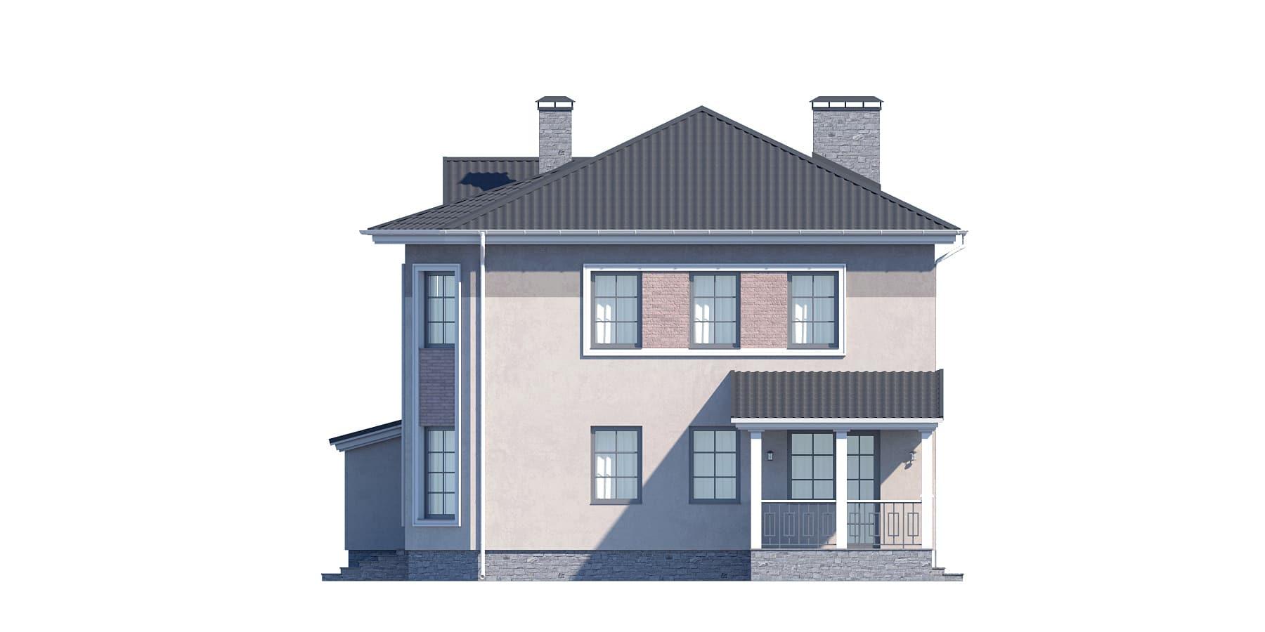 Фасад двухэтажного дома с гаражом, террасой «КД-32» - справа