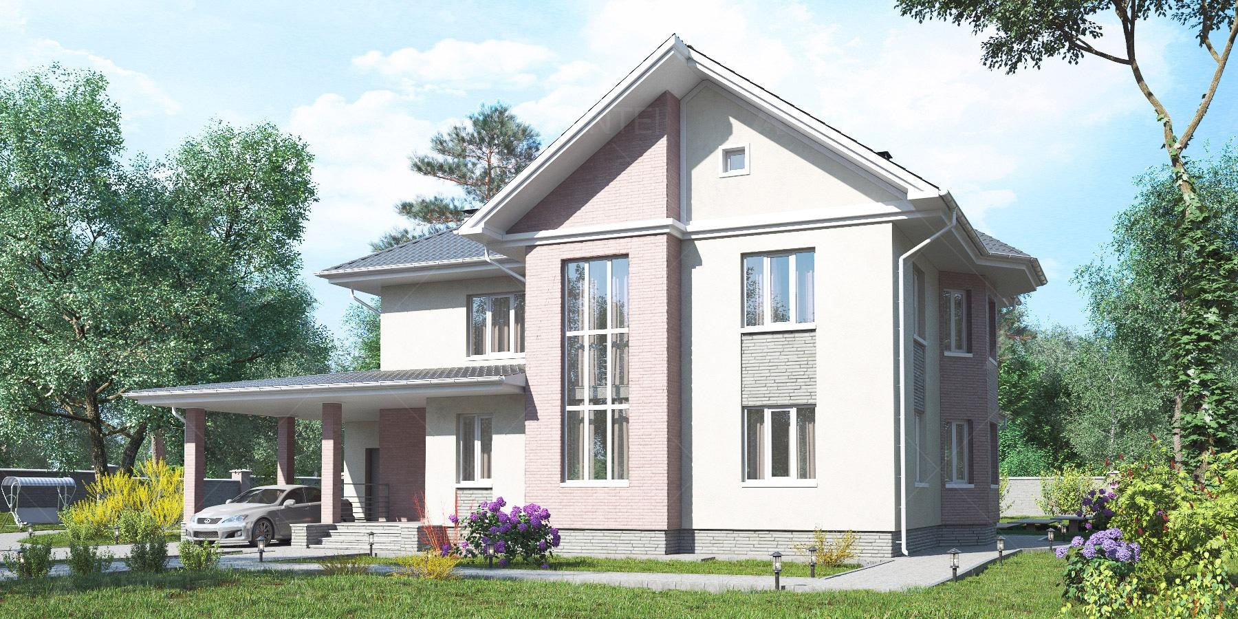 Проект двухэтажного дома с гаражом и террасой «КД-34» - фото №1