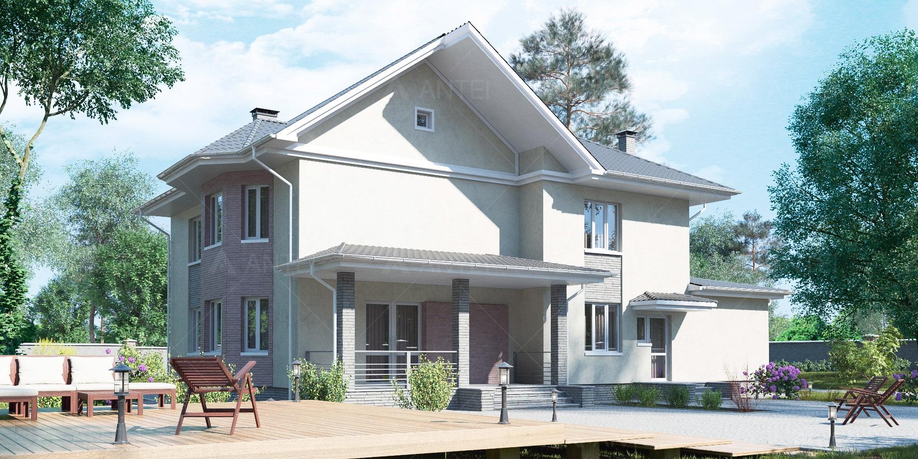 Проект двухэтажного дома с гаражом и террасой «КД-34» - фото №2