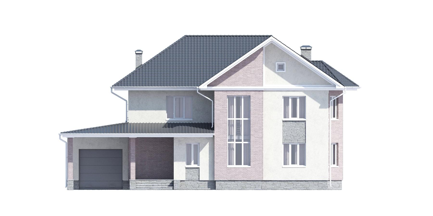 Фасад двухэтажного дома с гаражом и террасой «КД-34» спереди