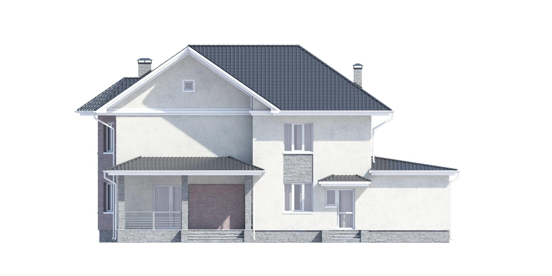 Фасад двухэтажного дома с гаражом и террасой «КД-34» сзади