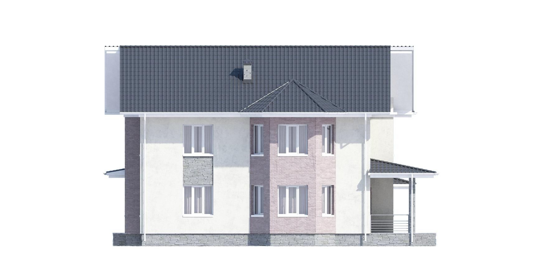 Фасад двухэтажного дома с гаражом и террасой «КД-34» справа