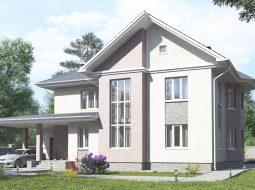 Проект двухэтажного дома с гаражом и террасой «КД-34»