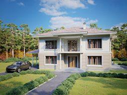 Проект двухэтажного дома с террасой и навесом для авто «КД-35»