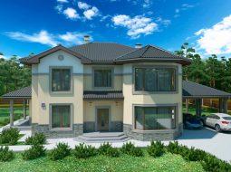 Проект двухэтажного дома с навесом на 2 авто и террасой «КД-43»