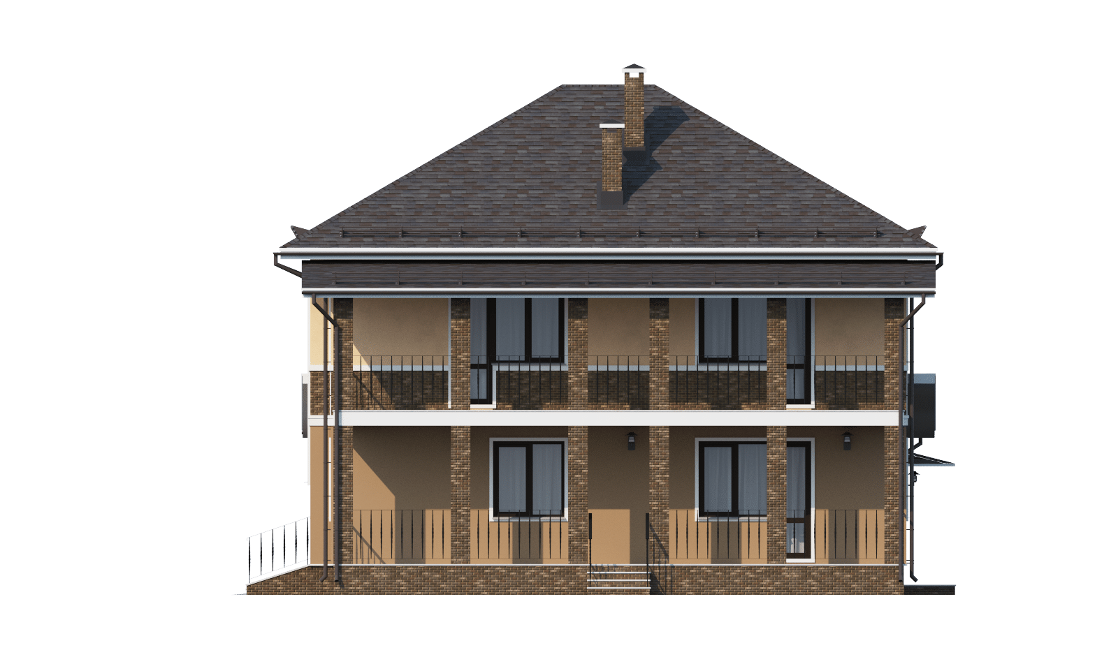 Фасад двухэтажного дома с гаражом, террасой и балконом «КД-6» справа