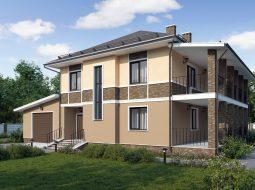 Проект двухэтажного дома с гаражом, террасой и балконом «КД-6»
