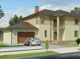 Проект двухэтажного дома с гаражом, террасой и балконом «КД-9»