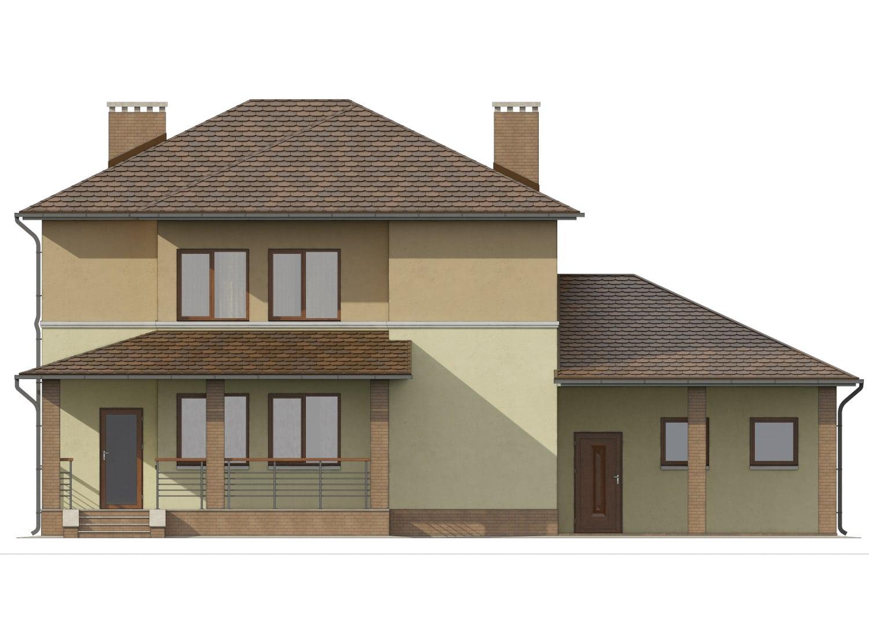 Фасад двухэтажного дома с гаражом, террасой и балконом «КД-9» сзади