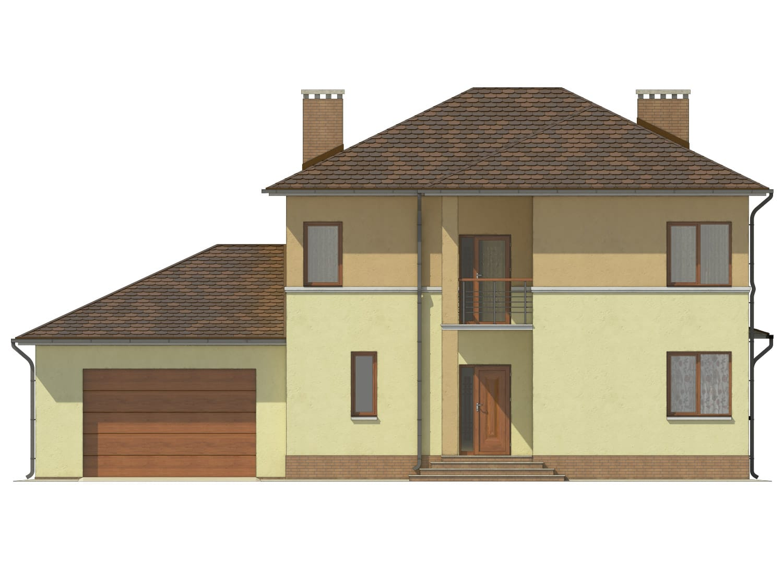 Фасад двухэтажного дома с гаражом, террасой и балконом «КД-9» спереди