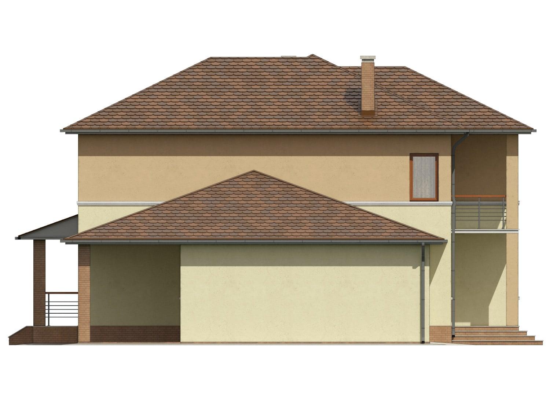 Фасад двухэтажного дома с гаражом, террасой и балконом «КД-9» слева