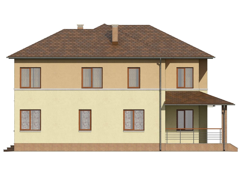Фасад двухэтажного дома с гаражом, террасой и балконом «КД-9» справа