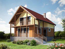 Проект мансардного дома с террасой «КМ-1»