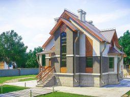 Проект мансардного дома с террасой и цокольным этажом «КМ-100»