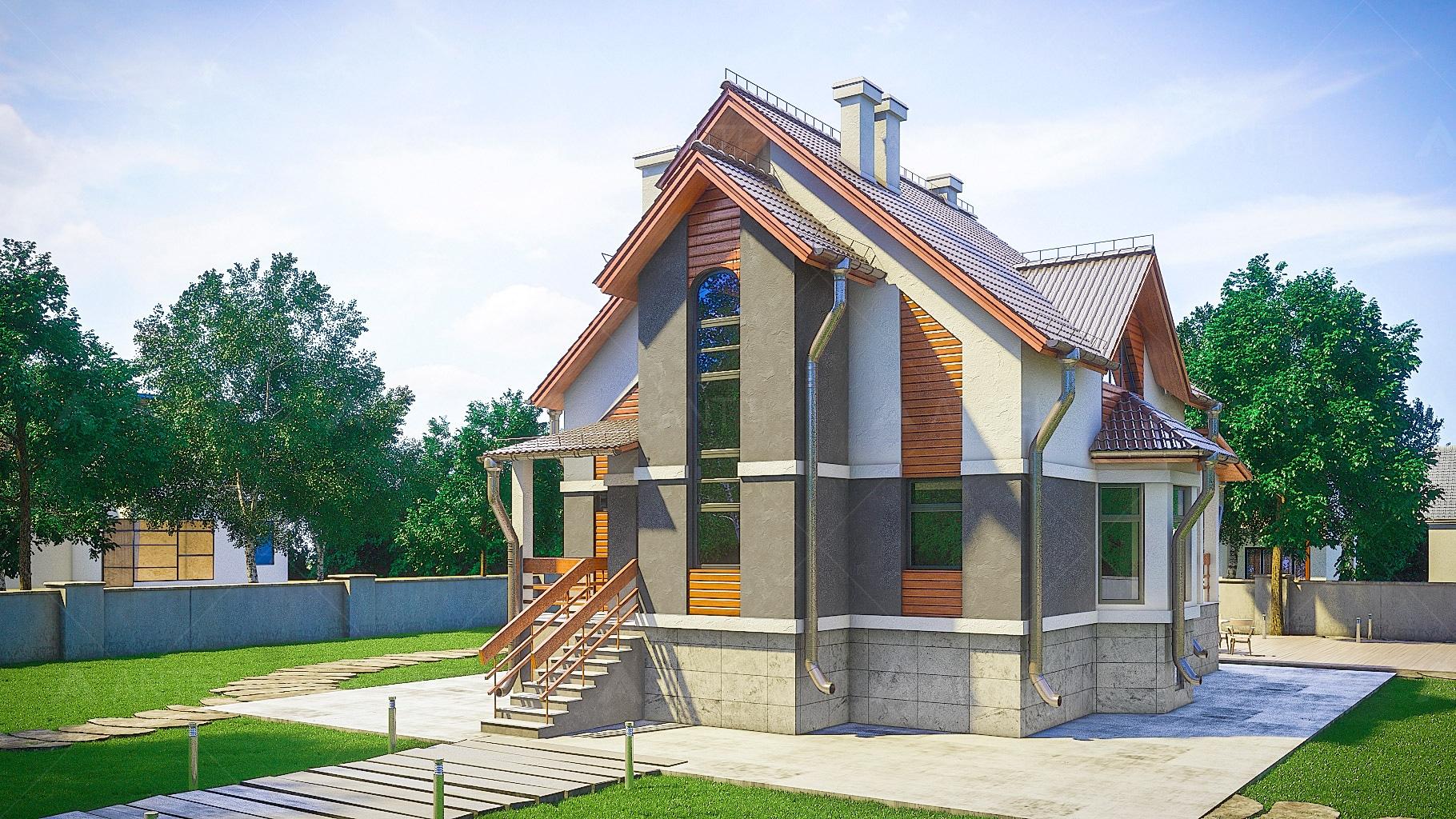 Проект мансардного дома с террасой и цокольным этажом «КМ-100» - фото №1