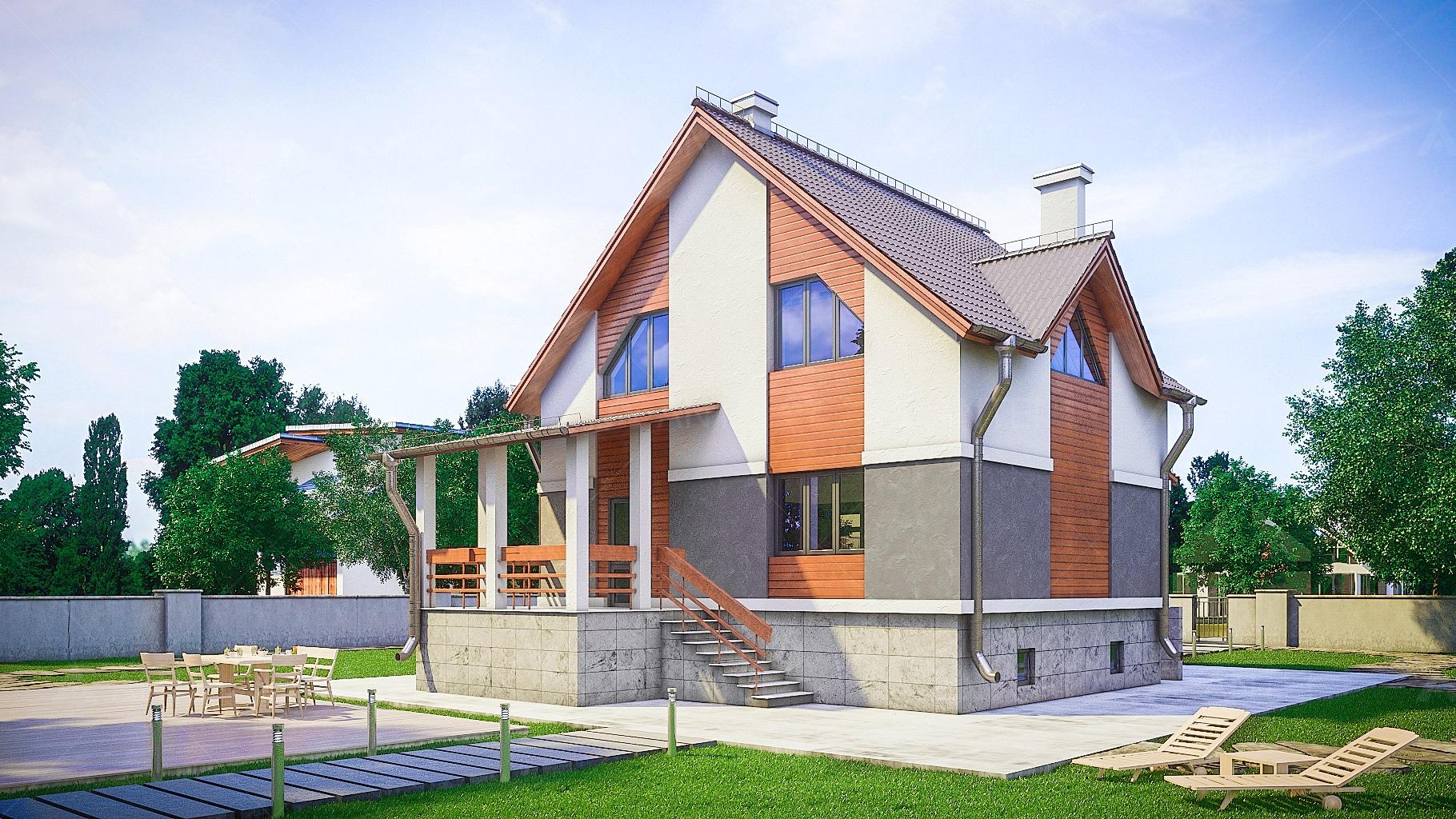 Проект мансардного дома с террасой и цокольным этажом «КМ-100» - фото №2