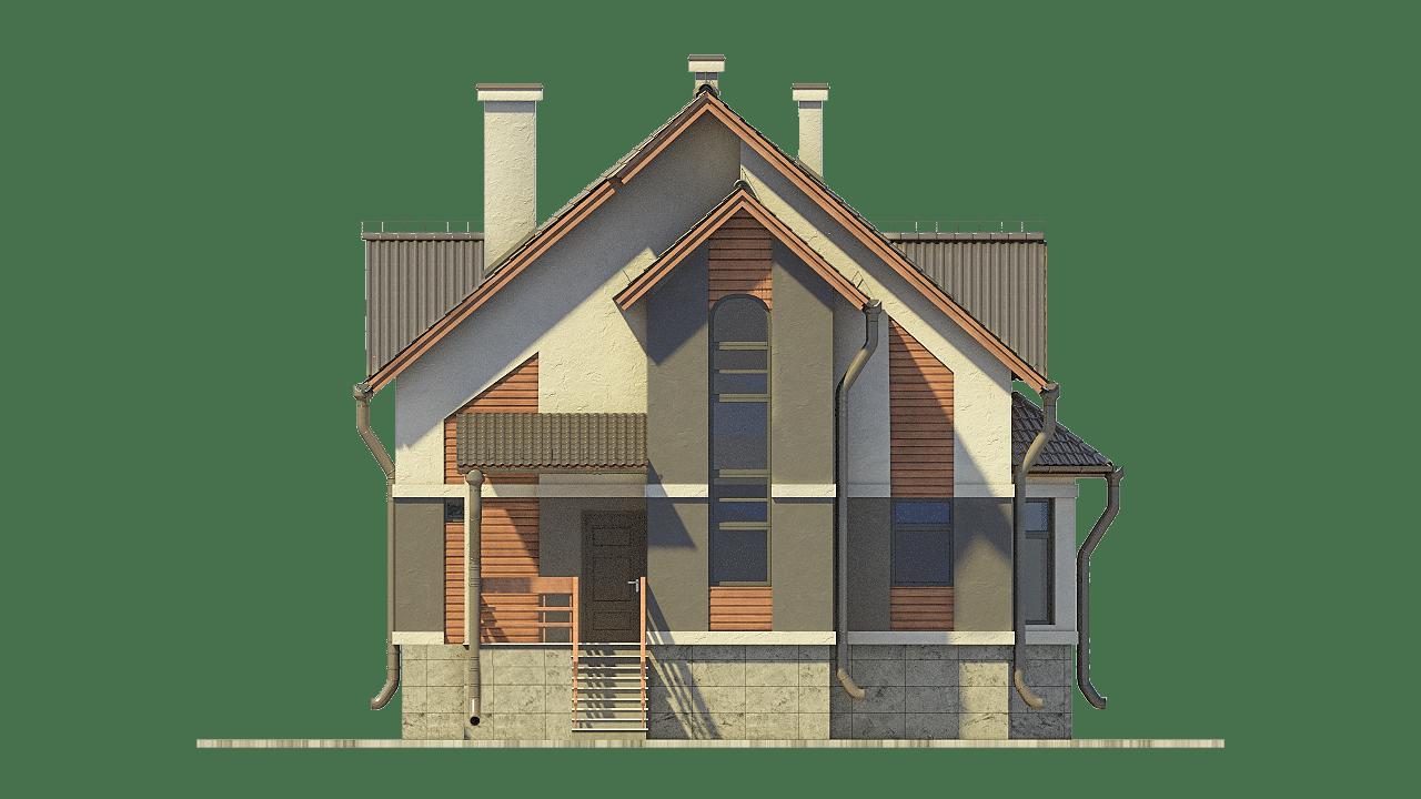 Фасад мансардного дома с террасой и цокольным этажом «КМ-100» - спереди