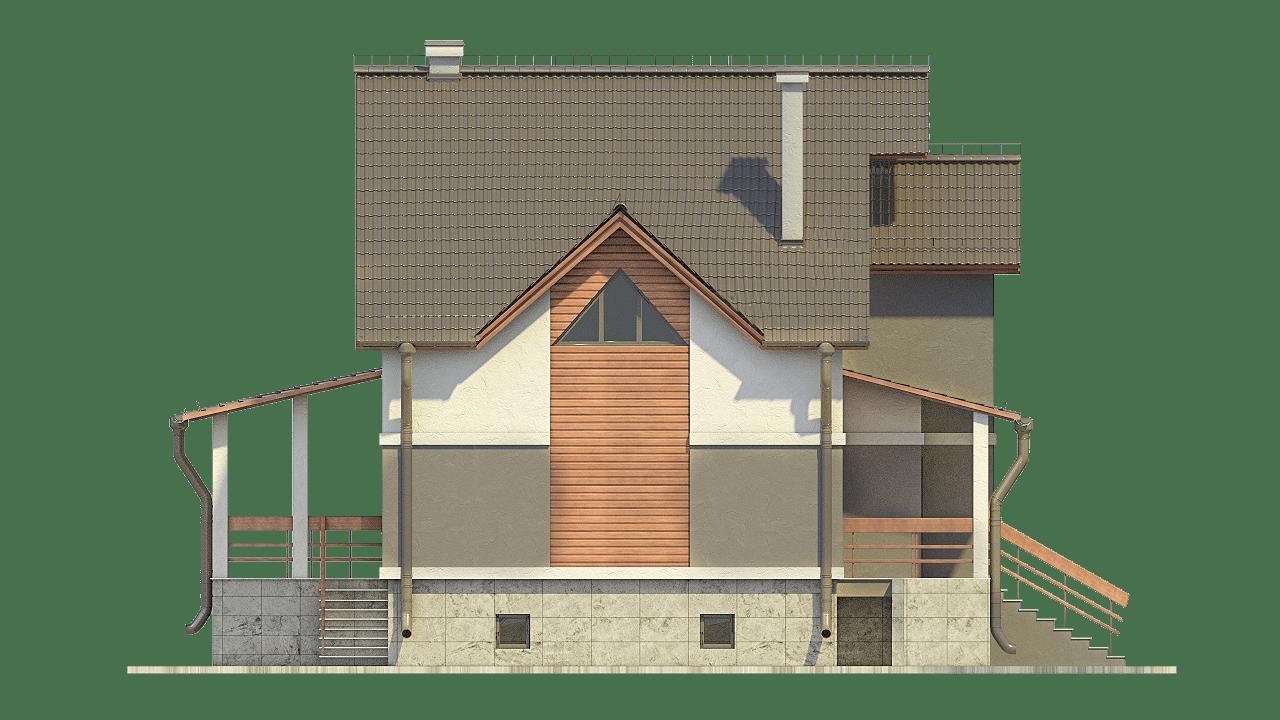 Фасад мансардного дома с террасой и цокольным этажом «КМ-100» - слева