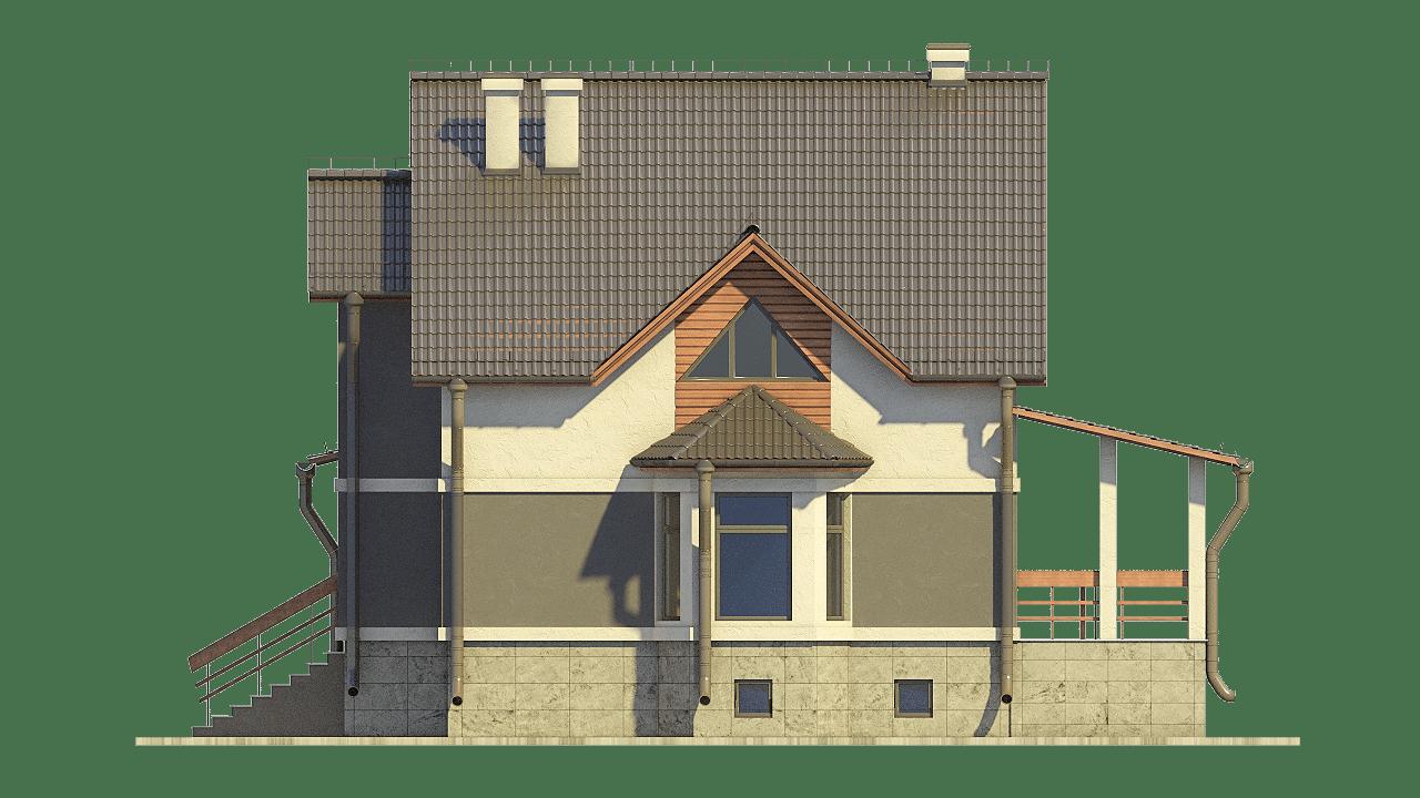 Фасад мансардного дома с террасой и цокольным этажом «КМ-100» - справа