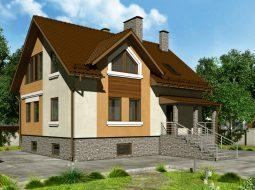 Проект мансардного дома с балконом «КМ-101»
