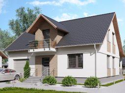 Проект мансардного дома с гаражом, террасой и балконом «КМ-102»