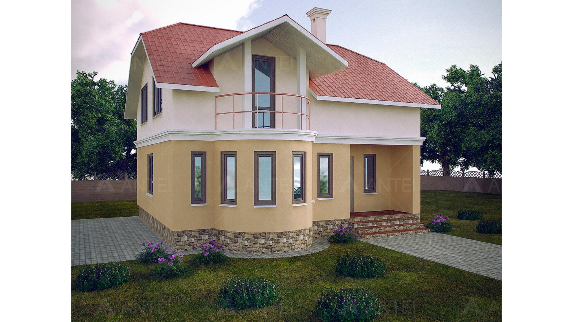 Проект мансардного дома с балконом «КМ-103» - фото №1