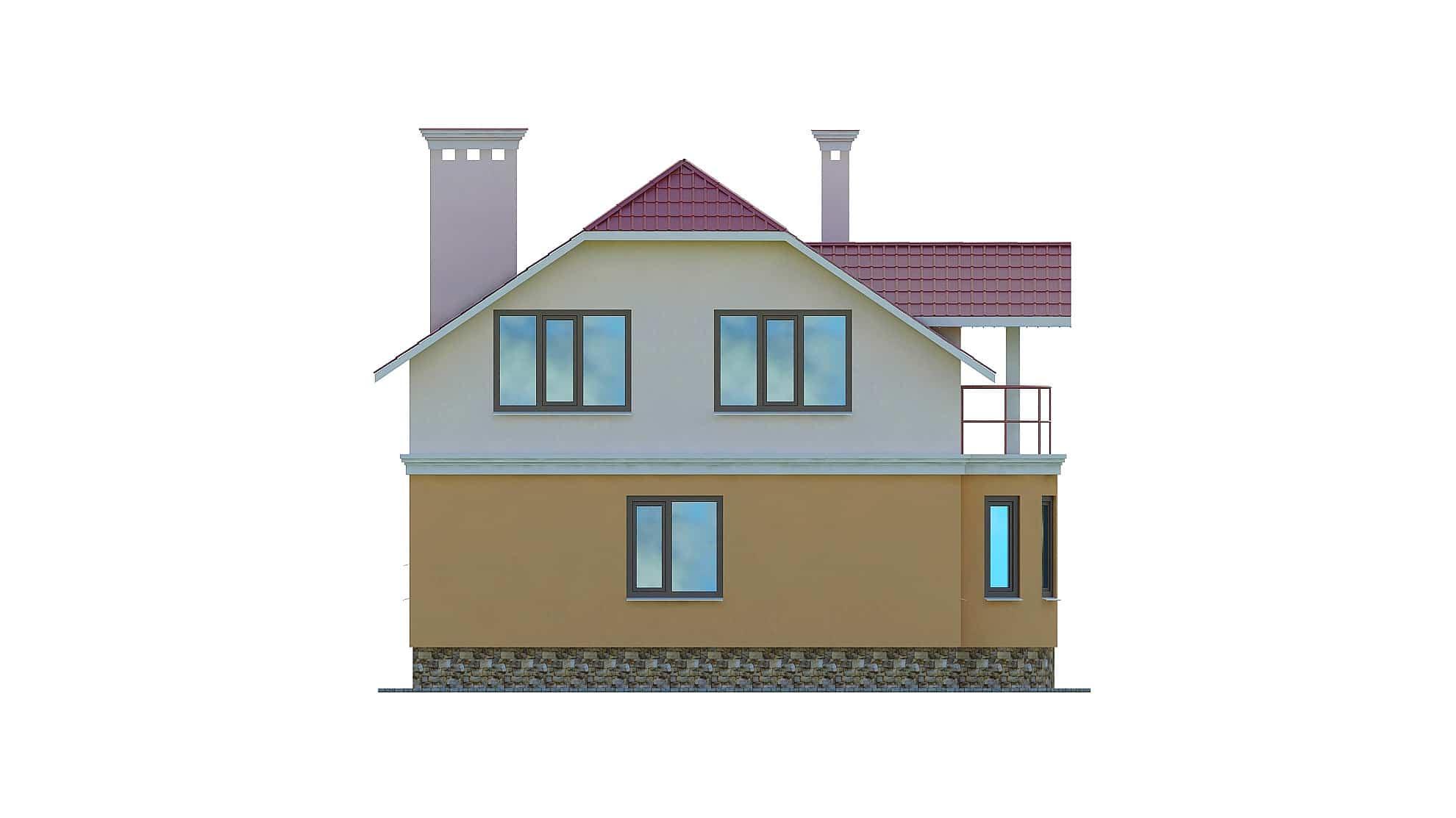 Фасад мансардного дома с балконом «КМ-103» - слева