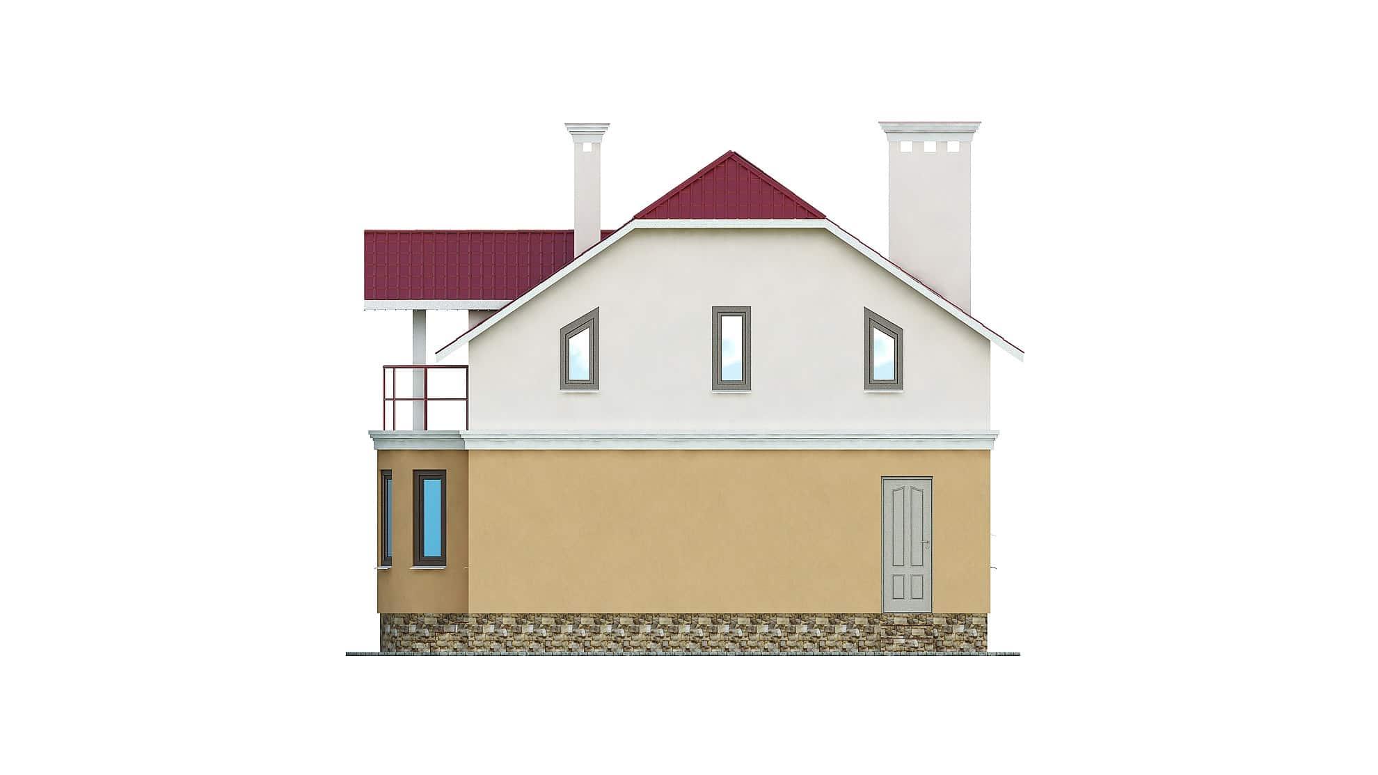Фасад мансардного дома с балконом «КМ-103» - справа