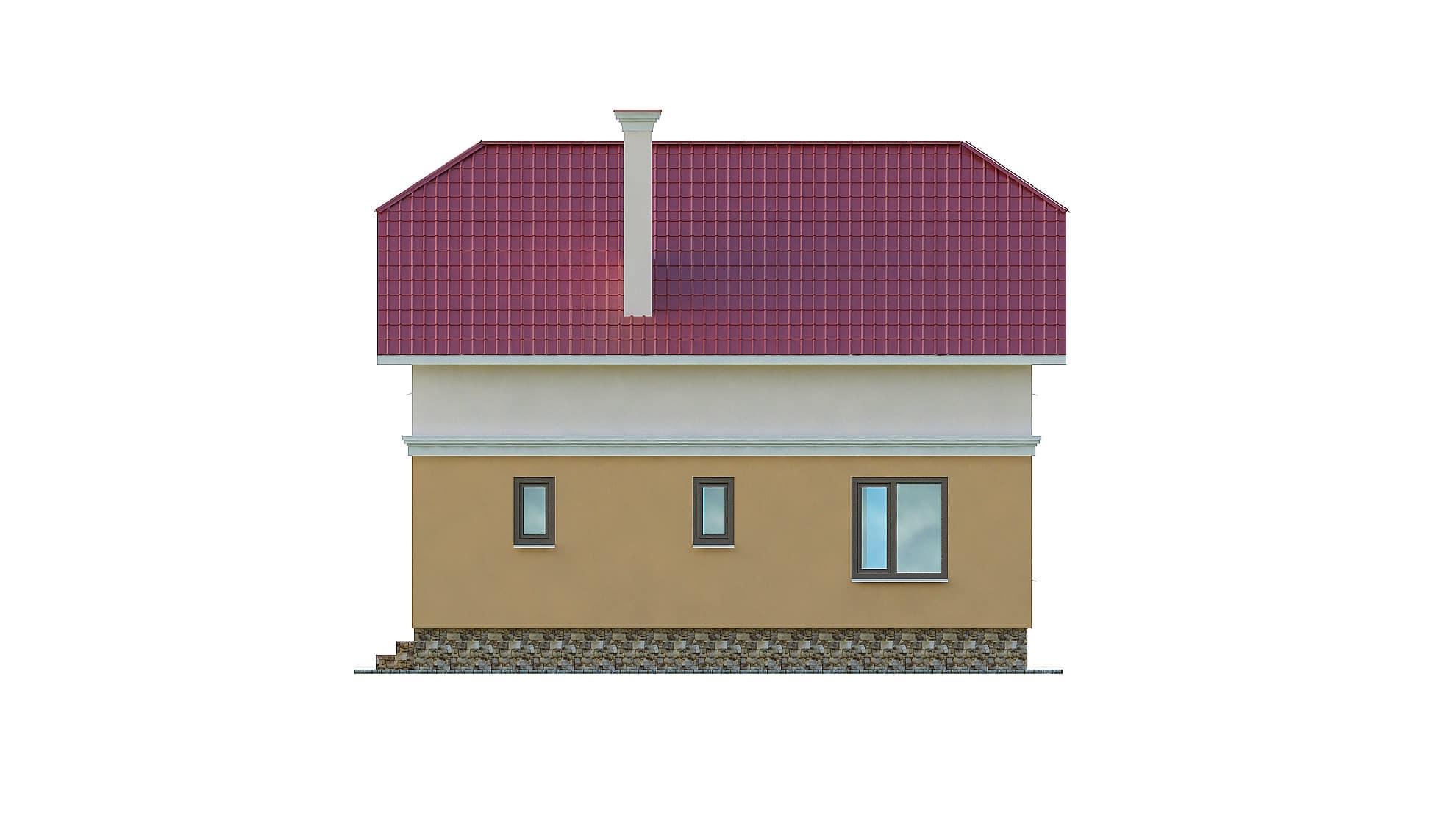 Фасад мансардного дома с балконом «КМ-103» - сзади