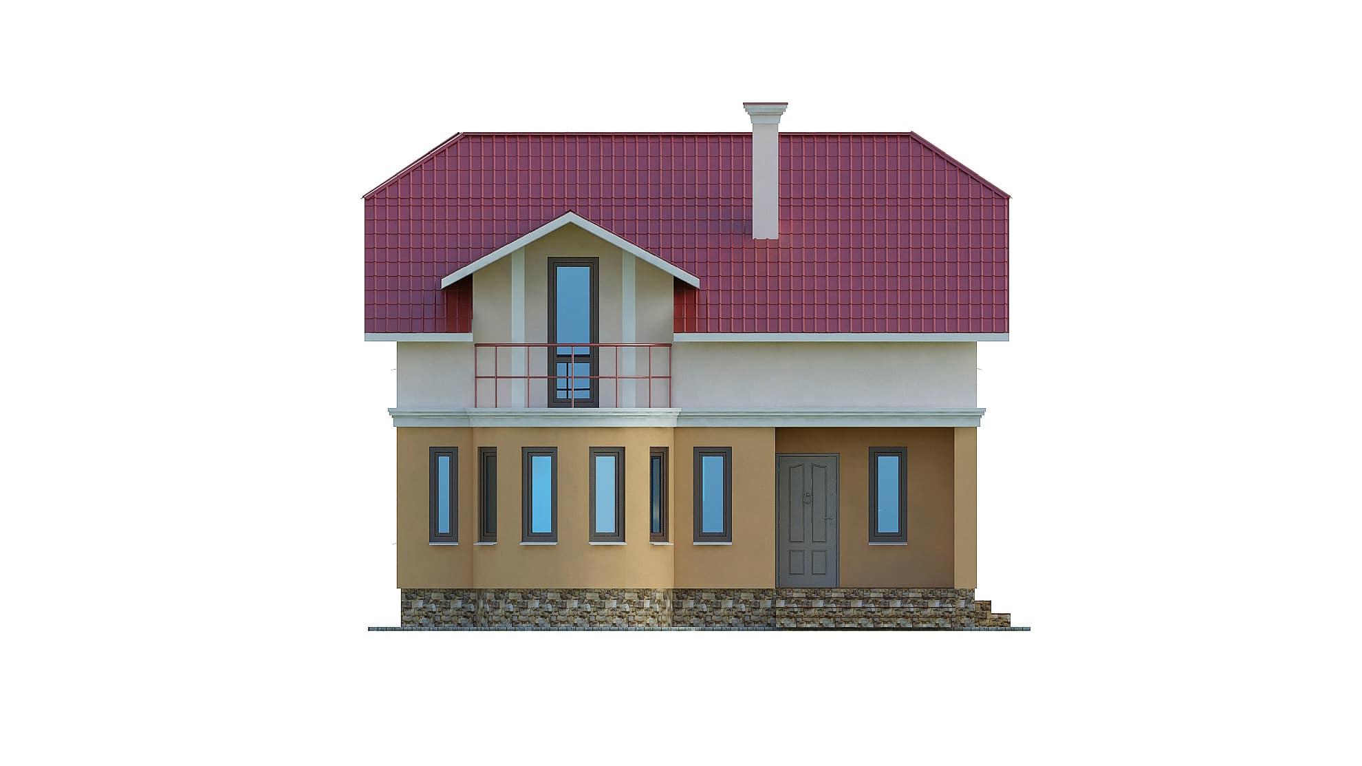 Фасад мансардного дома с балконом «КМ-103» - спереди