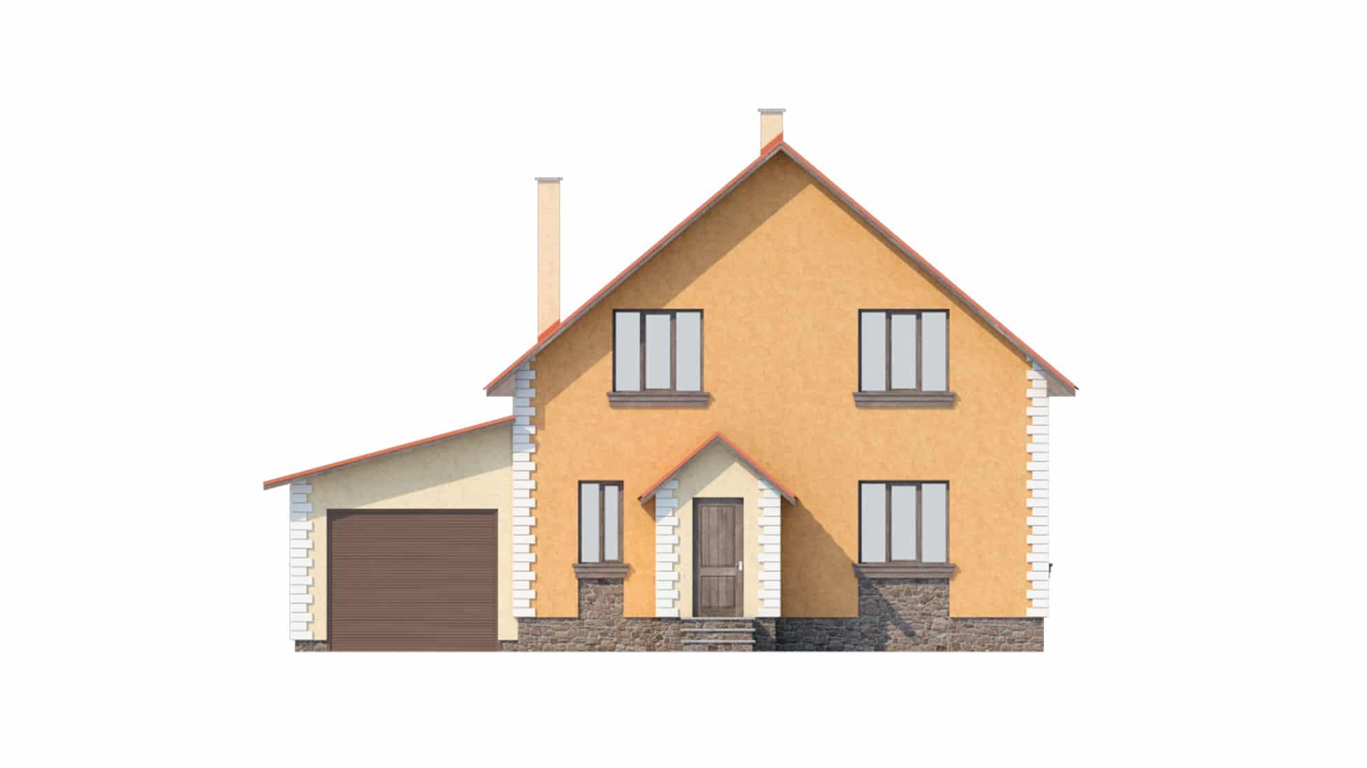 Фасад мансардного дома «КМ-11» - спереди