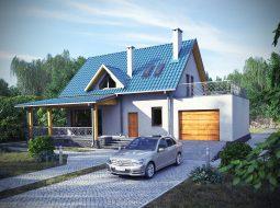 Проект мансардного дома с гаражом и террасой «КМ-12»