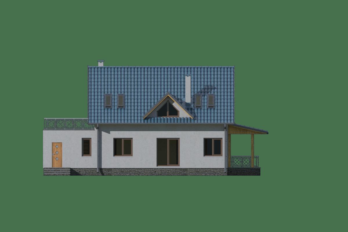 Фасад мансардного дома с гаражом и террасой «КМ-12» - сзади