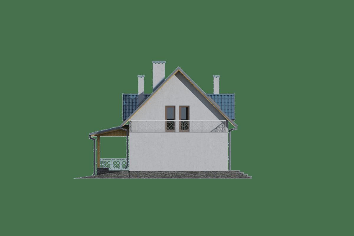 Фасад мансардного дома с гаражом и террасой «КМ-12» - справа