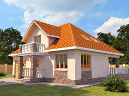 Проект мансардного дома с террасой и балконом «КМ-13»
