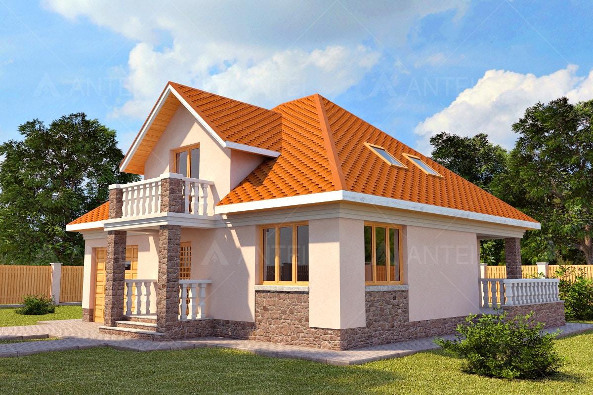 Проект мансардного дома с террасой и балконом «КМ-13» - фото №1