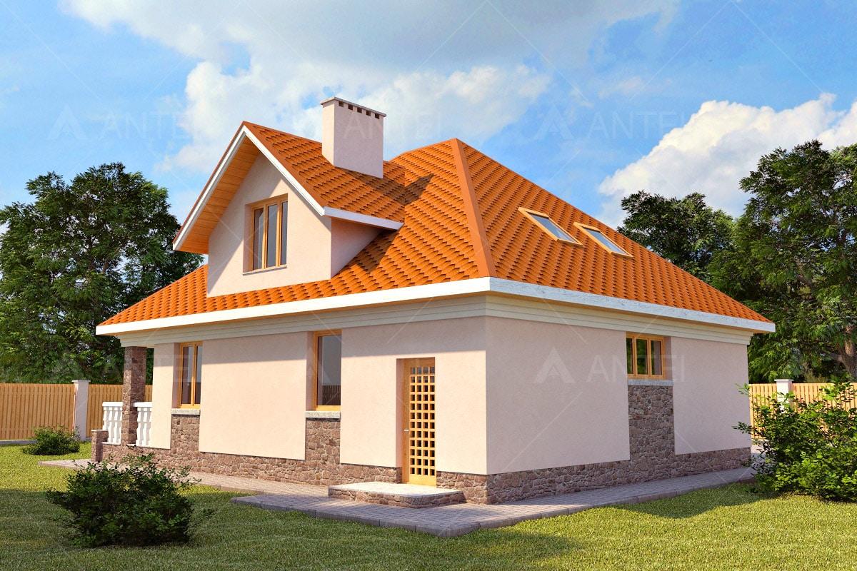 Проект мансардного дома с террасой и балконом «КМ-13» - фото №2