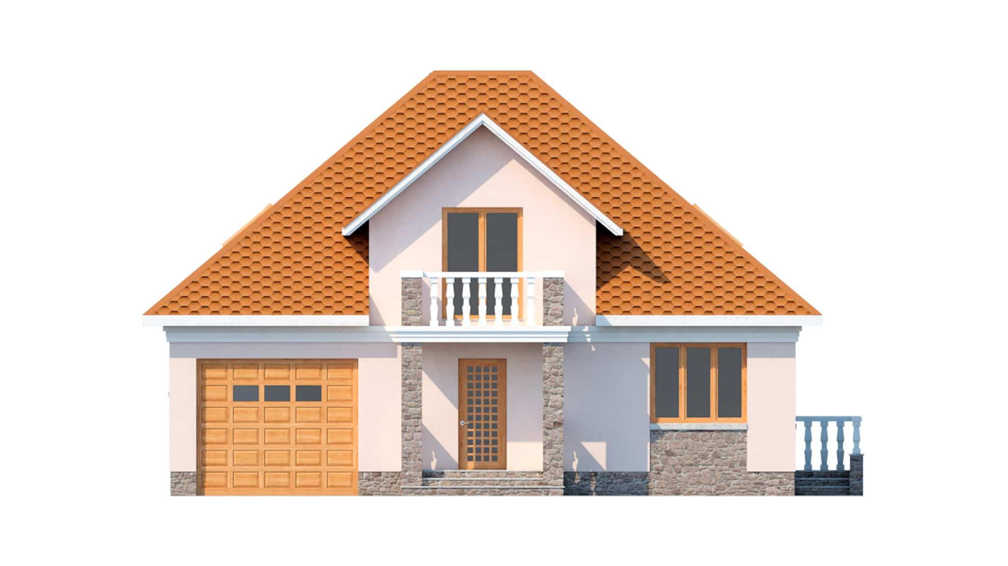 Фасад мансардного дома с террасой и балконом «КМ-13» - спереди