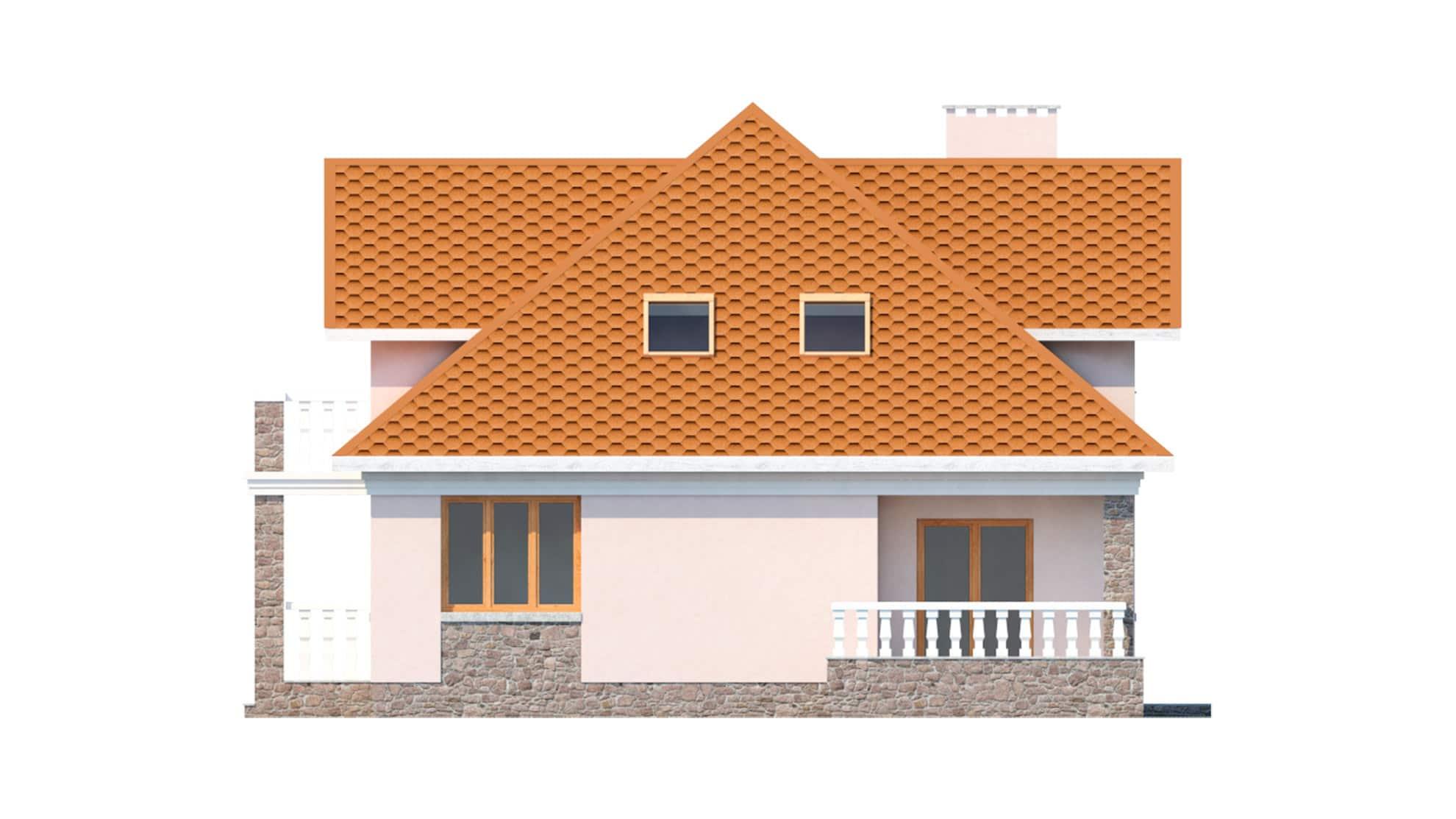 Фасад мансардного дома с террасой и балконом «КМ-13» - справа