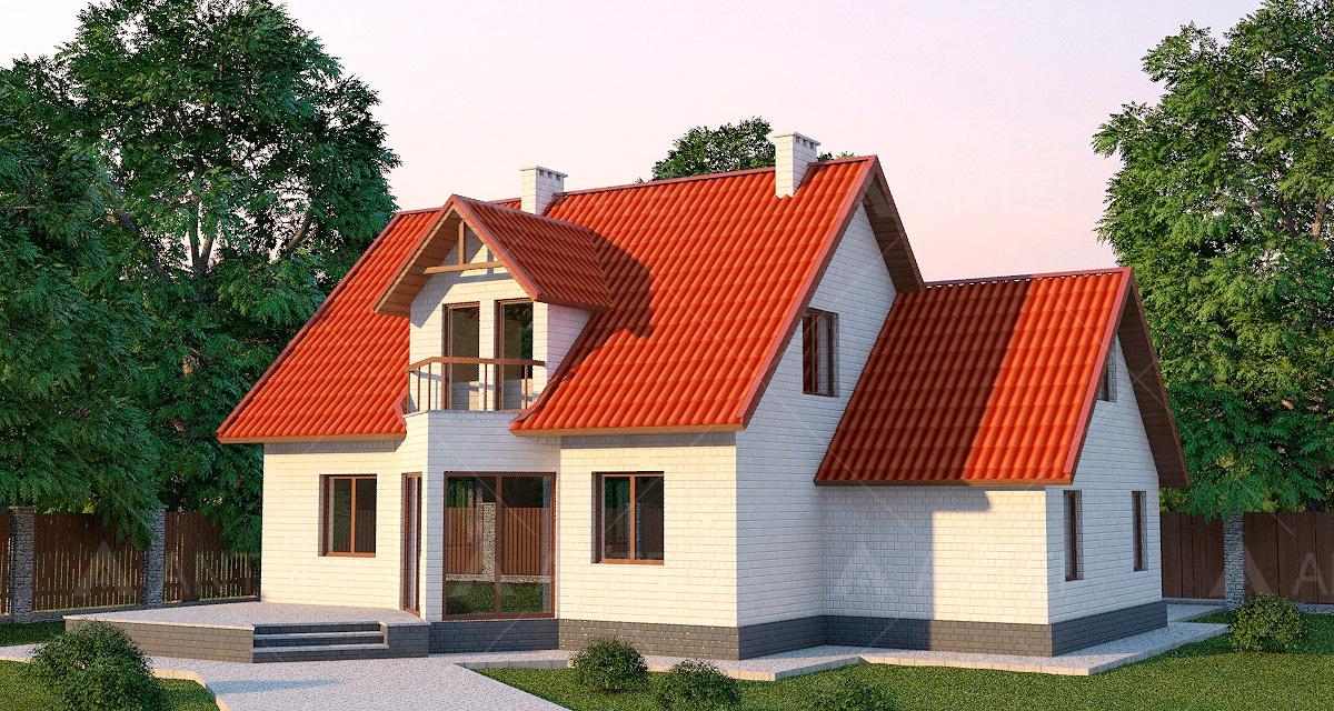 Проект мансардного дома с террасой, гаражом и балконом «КМ-14» - фото №2