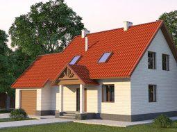Проект мансардного дома с террасой, гаражом и балконом «КМ-14»
