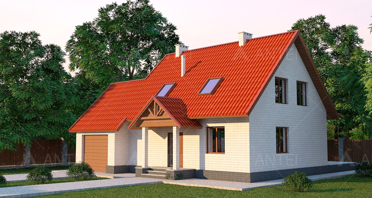 Проект мансардного дома с террасой, гаражом и балконом «КМ-14» - фото №1