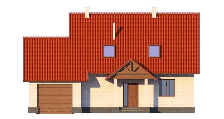 Фасад мансардного дома с террасой, гаражом и балконом «КМ-14» - спереди