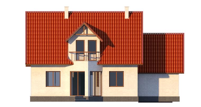 Фасад мансардного дома с террасой, гаражом и балконом «КМ-14» - сзади