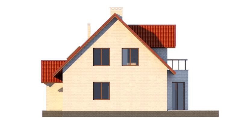 Фасад мансардного дома с террасой, гаражом и балконом «КМ-14» - слева